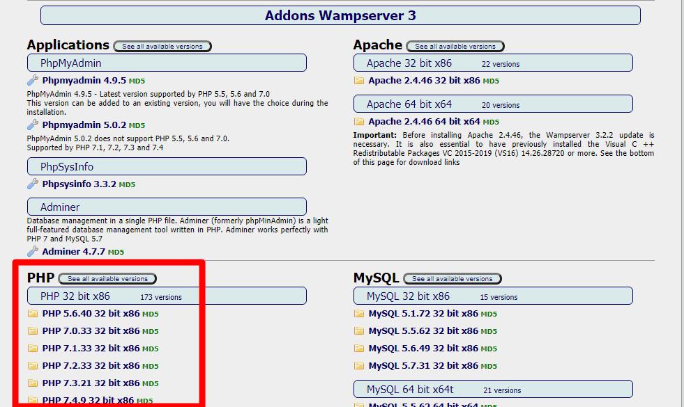 wampserver addons